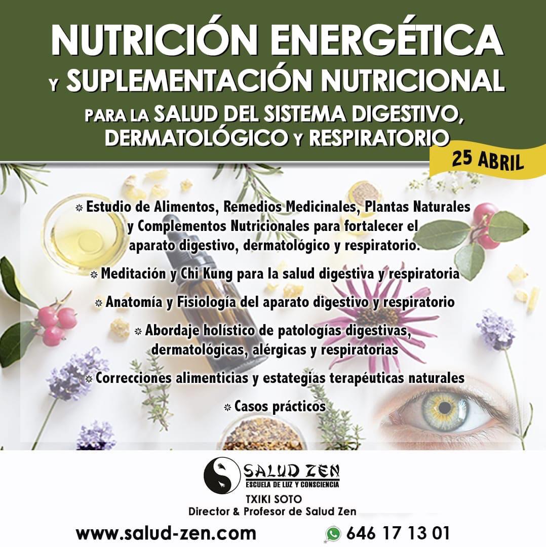 Nutrición Energética y Suplementación Nutricional para la salud del sistema digestivo, dermatologico y respiratorio