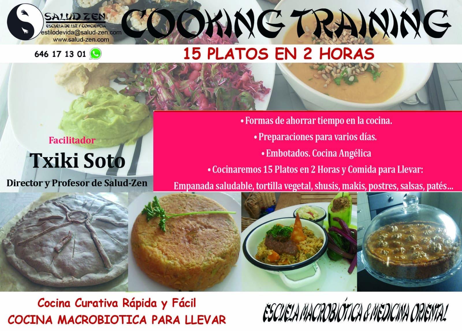 Cooking Training. 15 platos en 2 horas. Cocina, Rápida y Facil. Cocina Sana para llevar. Formas de ahorrar tiempo en la cocina. Embotados. Cocina Angélica. Preparados para varios dias.